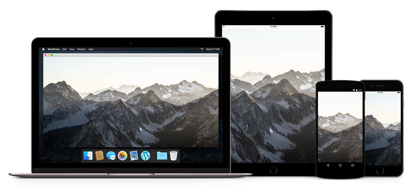 An image of a laptop, iPad, Android phone, and iPhone containing the same image displayed at multiple sizes to demonstrate new responsive image features in WordPress 4.4