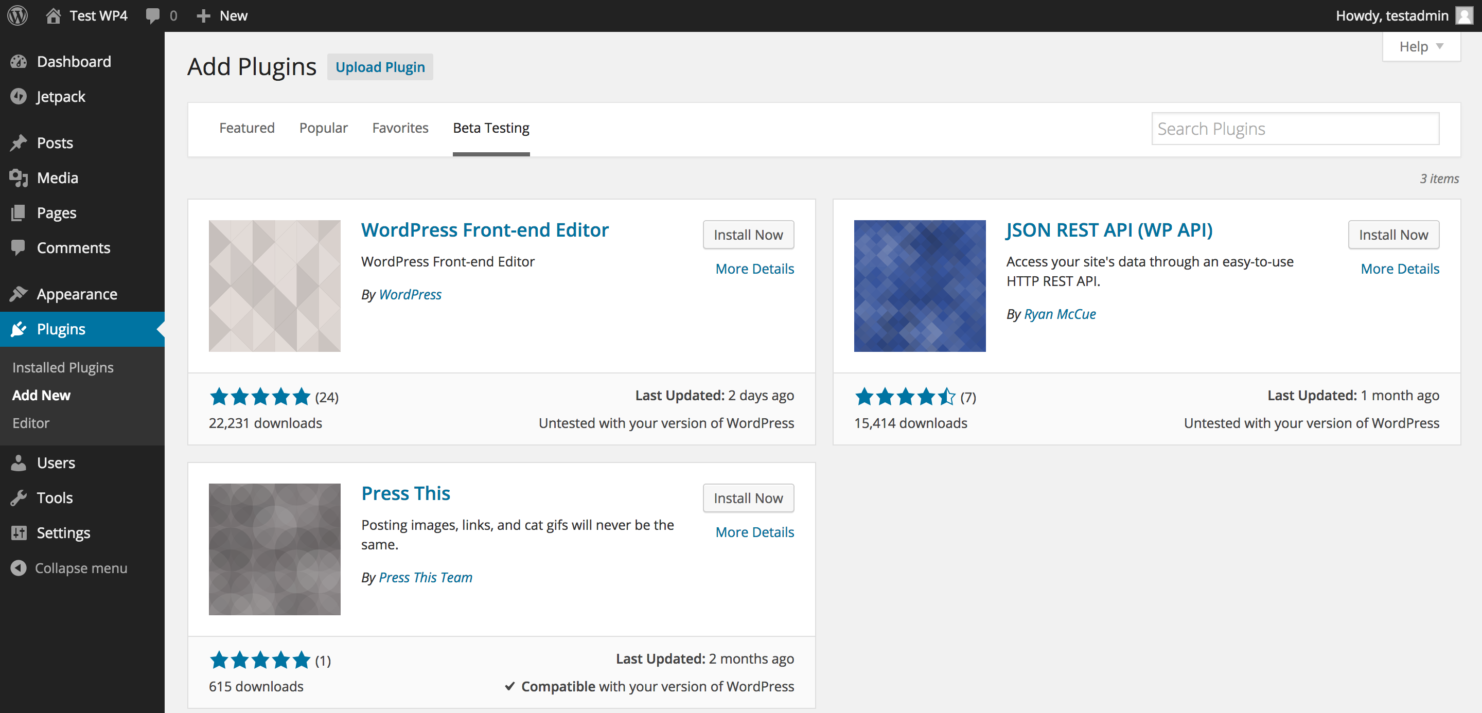 WordPress 4.0 Beta Testing Plugins