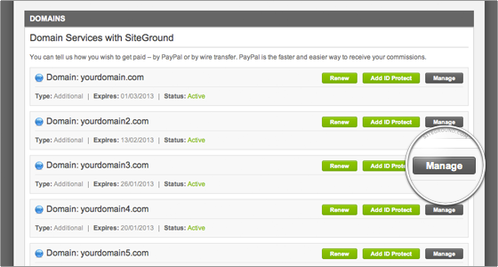 SiteGround Domains Manage