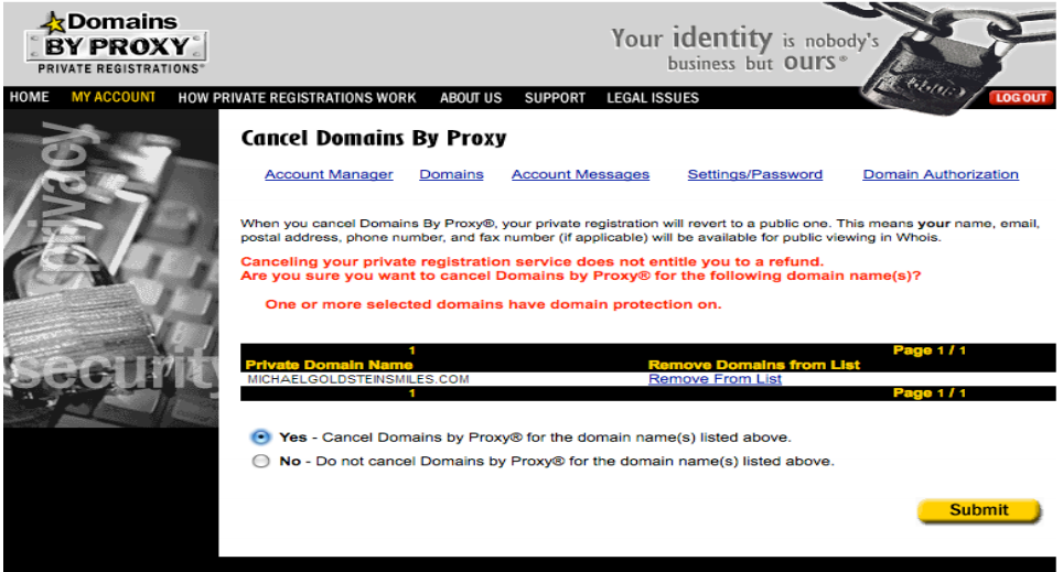 NameCat Domain Privacy Removal Confirmation